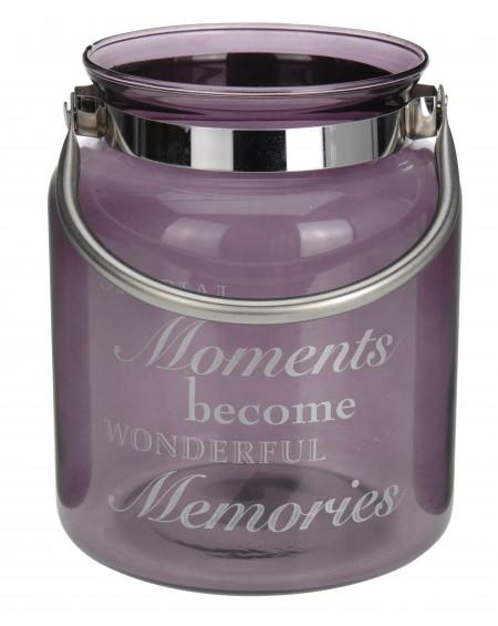 Lampion szklany Moments fioletowy