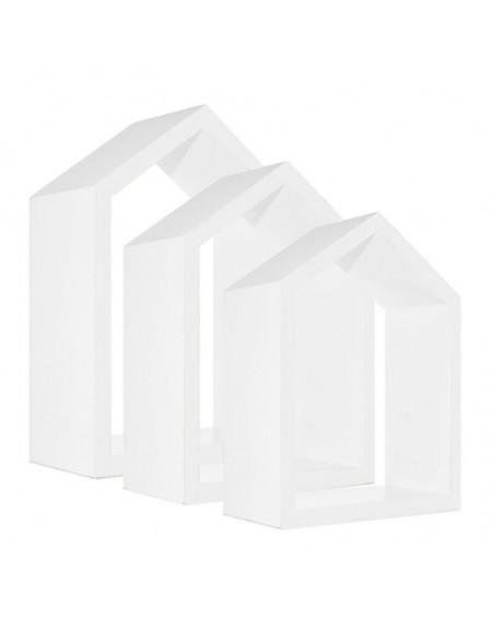 Zestaw 3 półek domków biały