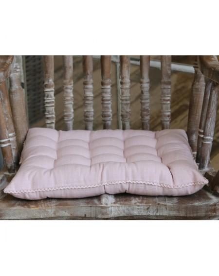 Poduszka na siedzisko z koronką pudrowa