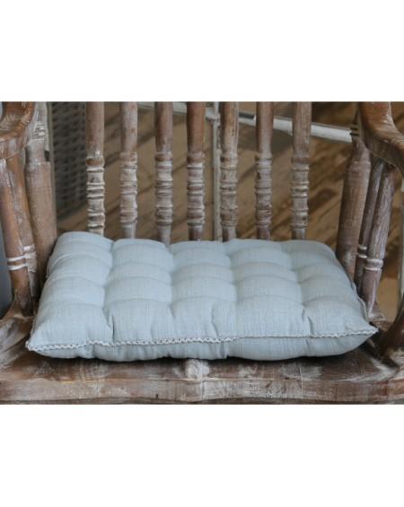 Poduszka na siedzisko z koronką szara