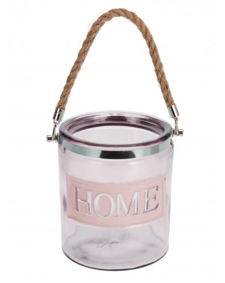 Lampion szklany różowy