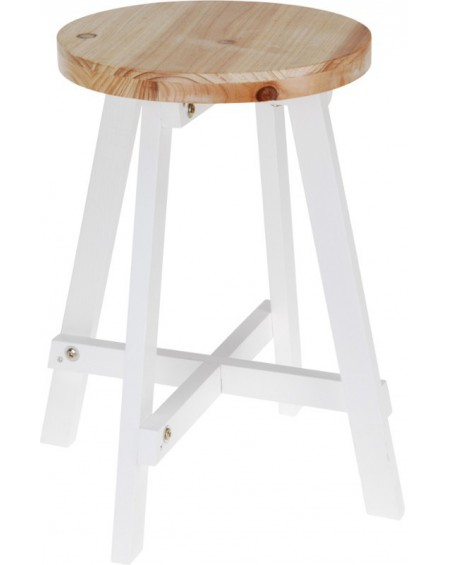 Stołek drewniany biały