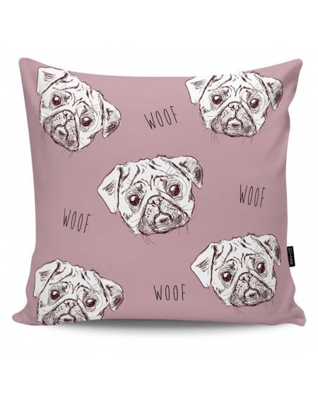 Poduszka dekoracyjna Pugs Attack dark pink