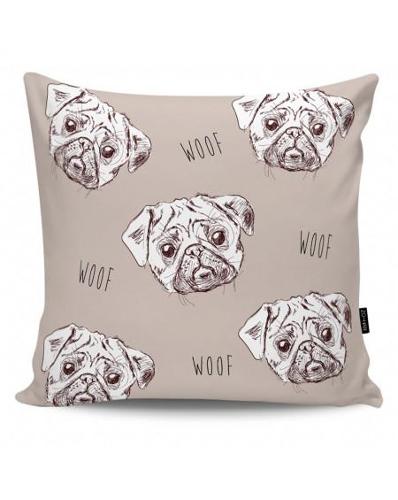 Poduszka dekoracyjna Pugs Attack dark beige