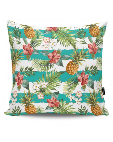 Poduszka dekoracyjna Striped Pineapples turquise