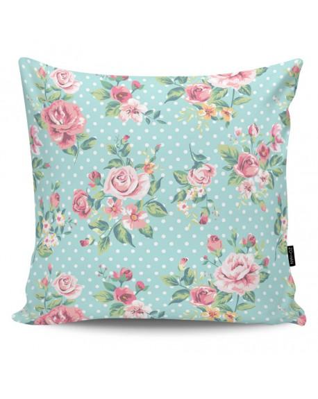 Poduszka dekoracyjna Dots & Roses blue