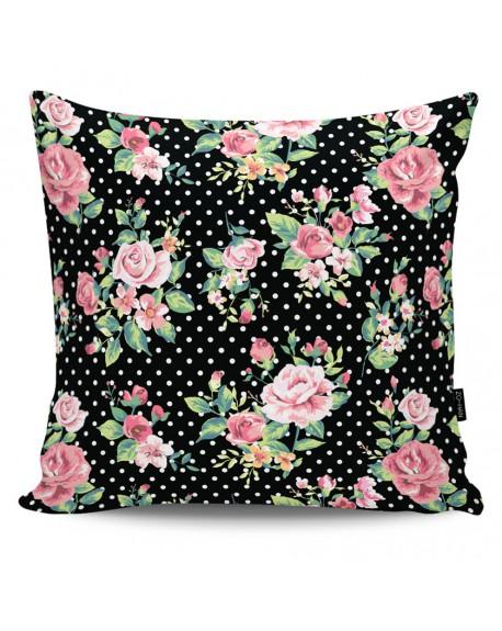 Poduszka dekoracyjna Dots & Roses black