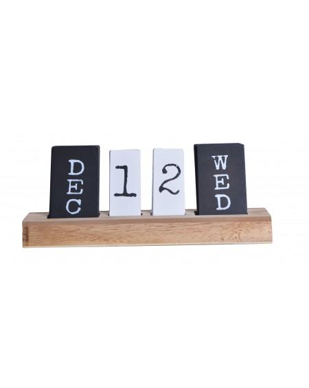 Kalendarz drewniany biało-czarny
