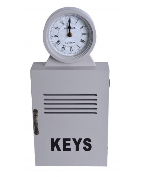 Zegar z szafką na klucze szary