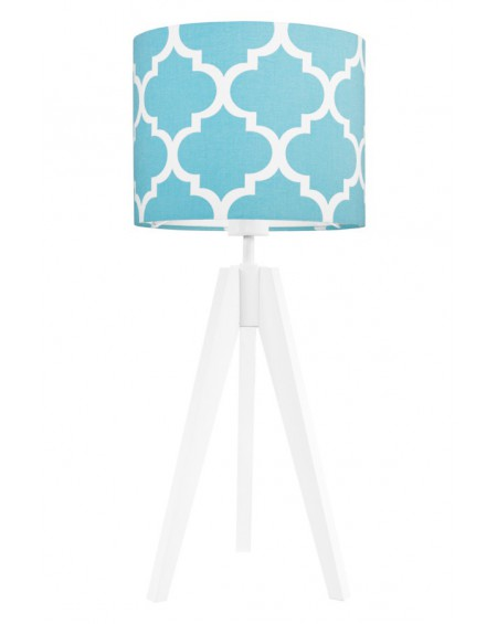 Lampa stołowa Koniczyna turkus/biała