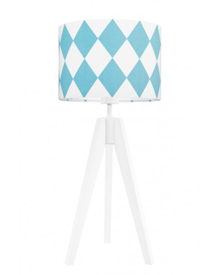 Lampa stołowa Romby turkus/biała