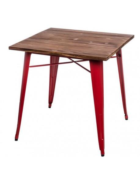 Stół Metalove Wood czerwony sosna