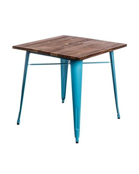 Stół Metalove Wood niebieski sosna