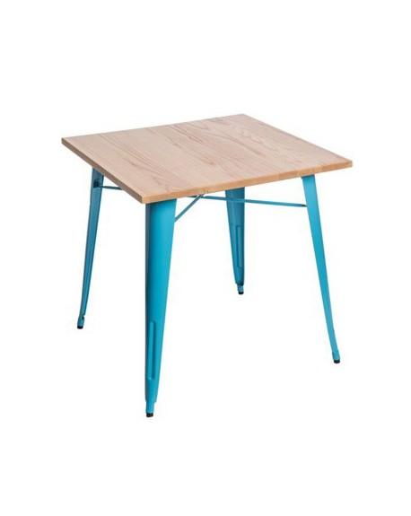 Stół Metalove Wood niebieskie jesion