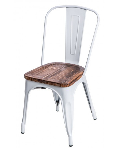 Krzesło Metalove Wood białe sosna/jesion