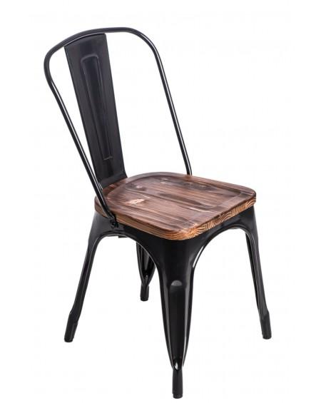 Krzesło Metalove Wood czarne sosna