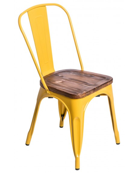 Krzesło Metalove Wood żółte sosna