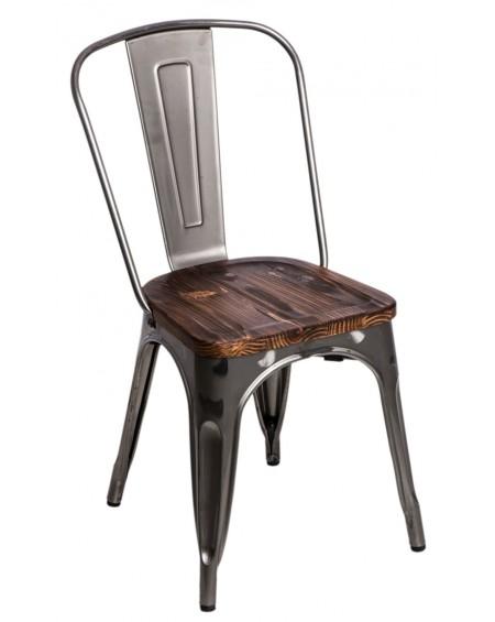 Krzesło Metalove Wood metaliczne sosna