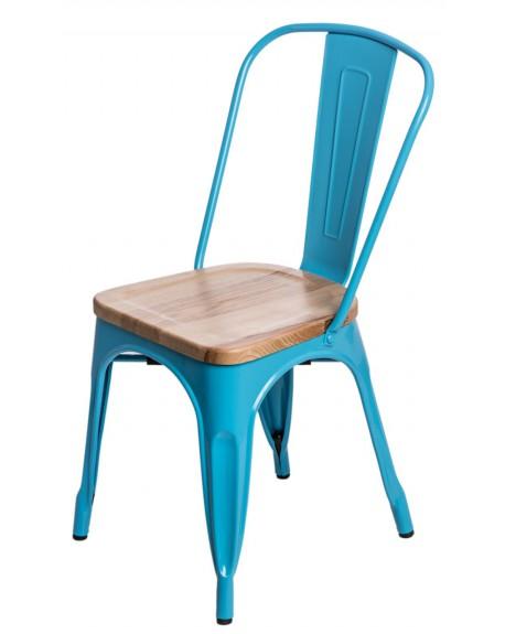 Krzesło Metalove Wood niebieskie sosna