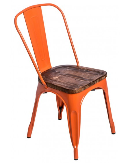 Krzesło Metalove Wood pomarańczowe sosna