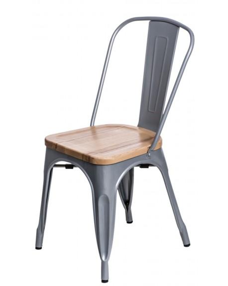 Krzesło Metalove Wood srebrne sosna