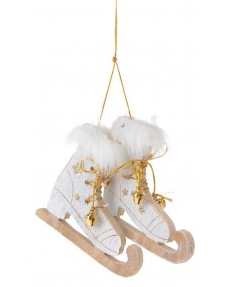 Zawieszka łyżwy biało-złote