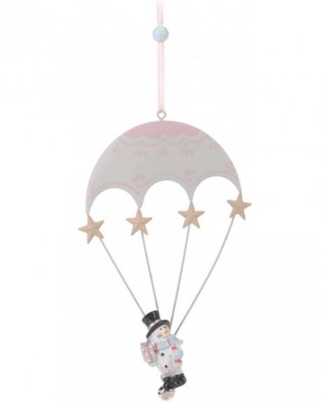 Zawieszka z bałwankiem biało-różowa