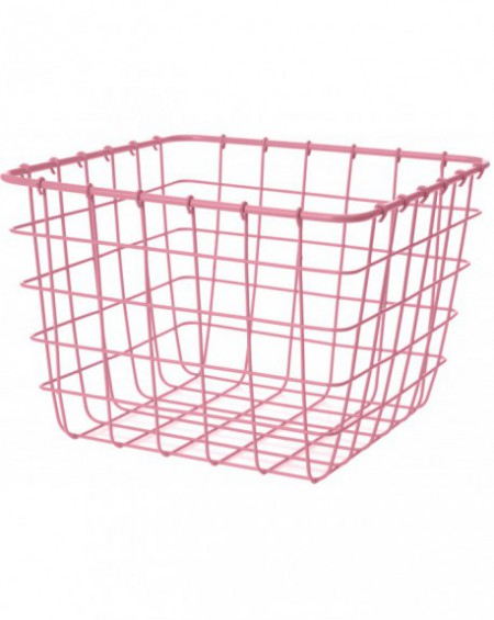 Koszyk metalowy kwadrat różowy