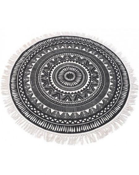 Dywan okrągły z frędzlami ciemny