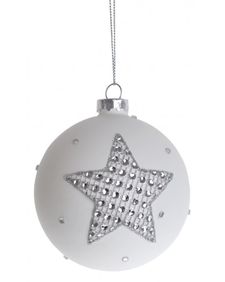 Bombka biała z kryształkami