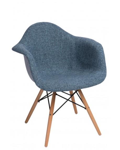 Krzesło tapicerowane DUO szaro-niebieskie