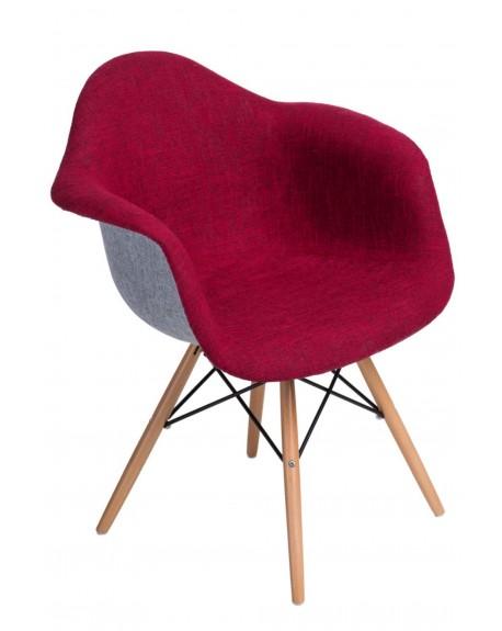 Krzesło tapicerowane DUO szaro-czerwone