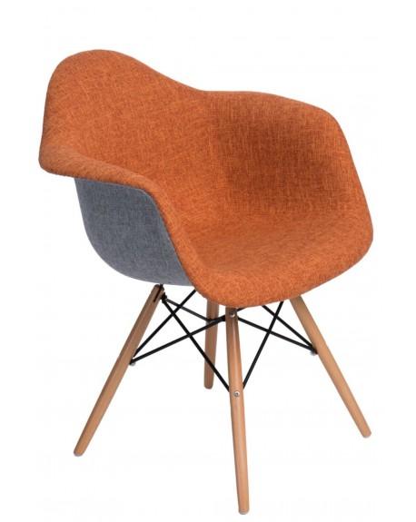 Krzesło tapicerowane DUO szaro-pomarańczowe