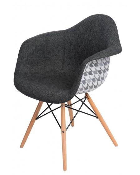 Krzesło tapicerowane DUO szare-pepitka